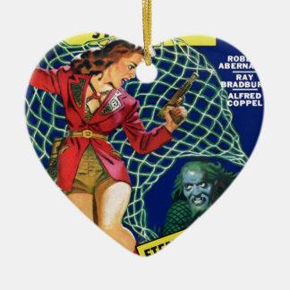 Passen Sie heraus auf!  Ein Netz! Keramik Herz-Ornament