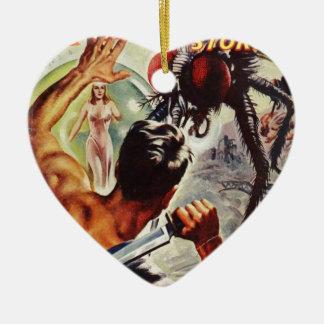 Passen Sie heraus auf!  I't eine große Fliege! Keramik Herz-Ornament