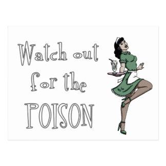 Passen Sie heraus für die Gift-Retro Kellnerin - Postkarte