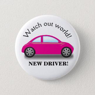 Passen Sie heraus Weltneues Fahrer-Rosa-Auto auf Runder Button 5,1 Cm