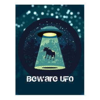 Passen Sie UFO auf Postkarte