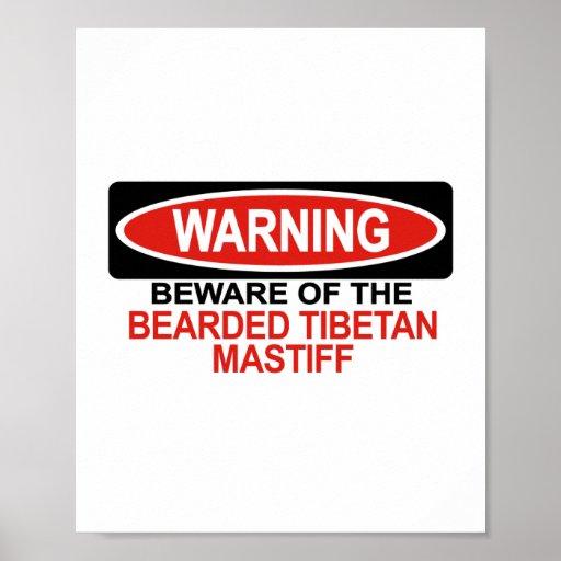 Passen Sie vom bärtigen tibetanischen Mastiff auf Plakatdrucke
