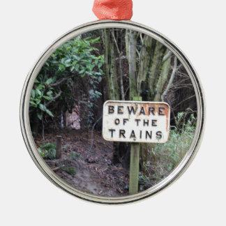Passen Sie von den Zügen auf! - Strecke Rundes Silberfarbenes Ornament