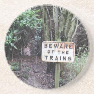Passen Sie von den Zügen auf! - Strecke Sandstein Untersetzer