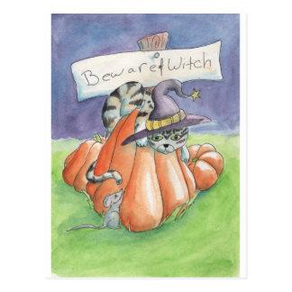 Passen Sie von der Hexe-Katze auf Postkarte