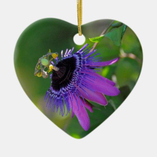 Passionsblume (Passiflora) Keramik Herz-Ornament