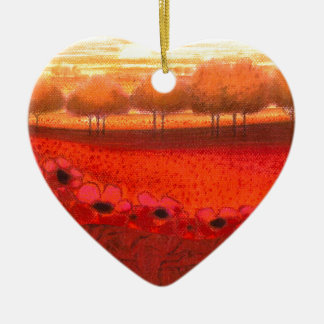 "Pastell-Collage-Art ""Magic red Flowerfield"" Keramik Ornament"