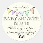 Pastell farbige Flagge-Baby Dusche danken Ihnen Runder Aufkleber
