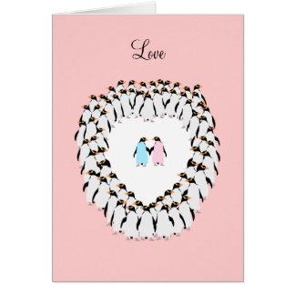 Pastell farbige Pinguine im Herzen Grußkarte