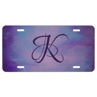 Pastell Flighty des Auto-  Monogramm-lila blauer US Nummernschild