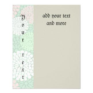 Pastell, grün, rosa, mit Blumen, modisch, modern, 11,4 X 14,2 Cm Flyer