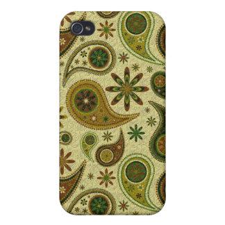 Pastell tont Retro Paisley und Blumen Pern iPhone 4 Hüllen