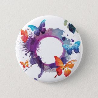 PastellAquarell-Schmetterlinge um einen Ring Runder Button 5,1 Cm