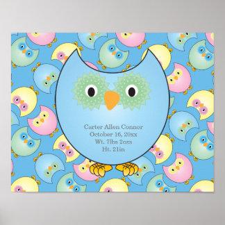 Pastellbaby-Eulen-Kinderzimmer-Thema im Blau Poster