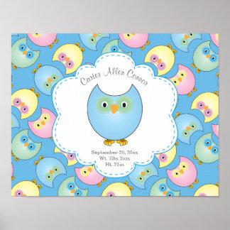Pastellbaby-Eulen-Kinderzimmer-Thema in Blau 2 Poster