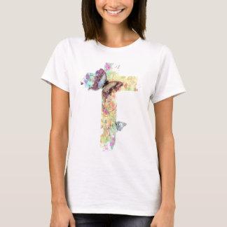 Pastellblumenkreuz und Schmetterlinge T-Shirt
