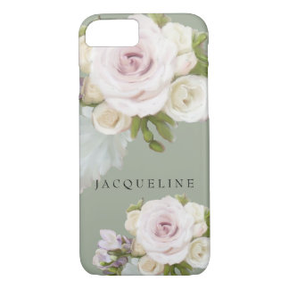 PastellblumenRosenfreesia-Blumen handgemalt iPhone 8/7 Hülle