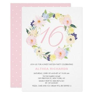 Pastellblumenwreath-16. Geburtstag-Party laden ein Karte