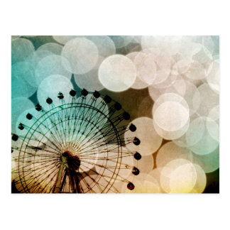 Pastellbokeh blauer Riesenrad Karneval Postkarte
