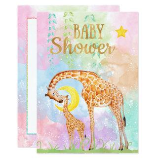 Pastellfarbmutter-und -baby-Giraffen-Babyparty Karte