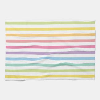 Pastellfarbregenbogen Stripes Muster Geschirrtuch