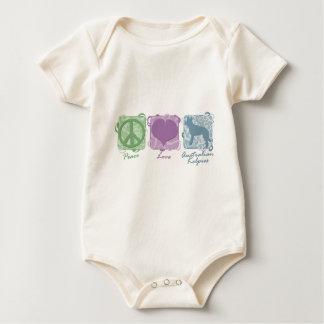 Pastellfrieden, Liebe und australische Kelpies Baby Strampler