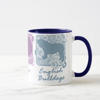 Pastellfrieden, Liebe und englische Bulldoggen Tasse