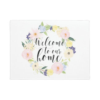 Pastellfrühlingblumenwreath-Willkommen zu unserem Türmatte
