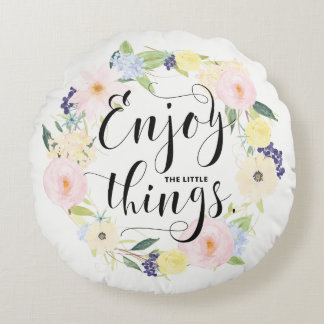 Pastellfrühlings-BlumenKranz genießen wunderliches Rundes Kissen