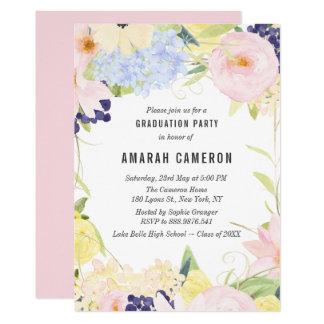 Pastellfrühlingwatercolor-Blumen-Abschluss-Party Karte