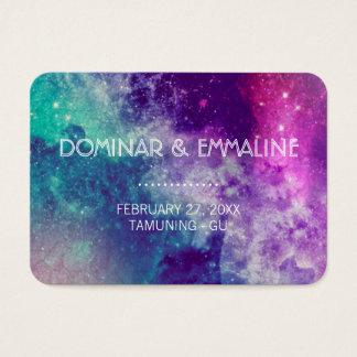 Pastellgalaxie-Hochzeits-Platzkarten Visitenkarte