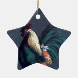 Pastellhahn-Huhn Keramik Ornament