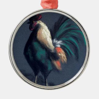 Pastellhahn-Huhn Silbernes Ornament