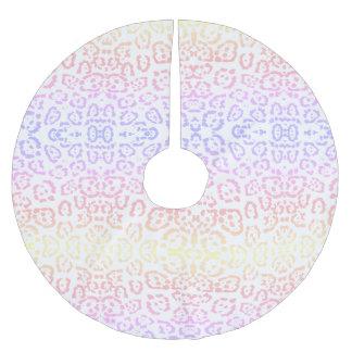 PastellKawaii Leopard-Regenbogen-Tierdruck Polyester Weihnachtsbaumdecke