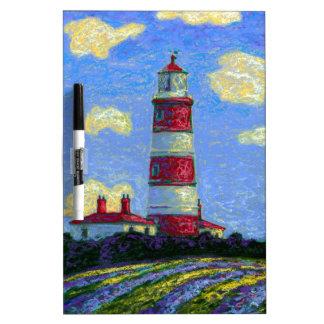 Pastellleuchtturm-und Lavendel-Felder Trockenlöschtafel