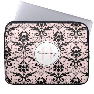 Pastellmonogramm-Damast-Muster des ROSA-| Laptopschutzhülle