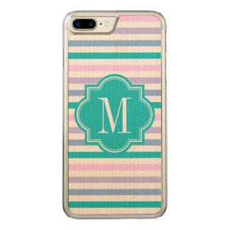 PastellOmbre Streifen mit aquamarinem Monogramm Carved iPhone 8 Plus/7 Plus Hülle