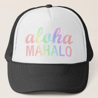 Pastellregenbogen Aloha Mahalo Typografie Truckerkappe
