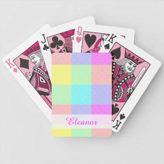Pastellregenbogen-Checkered | personalisierter Bicycle Spielkarten