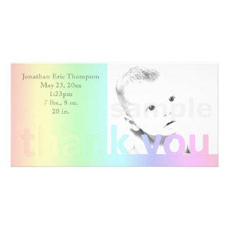 Pastellregenbogen danken Ihnen Geburts-Mitteilung Individuelle Foto Karte