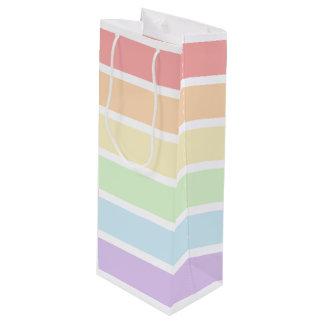 Pastellregenbogen-gestreifte Wein-Geschenk-Tasche Geschenktüte Für Weinflaschen