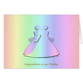 Pastellregenbogen-lesbische Hochzeits-Karte Grußkarte