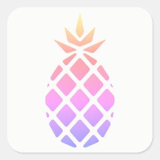 Pastellregenbogen-Schablonen-Hawaiianer-Ananas Quadratischer Aufkleber