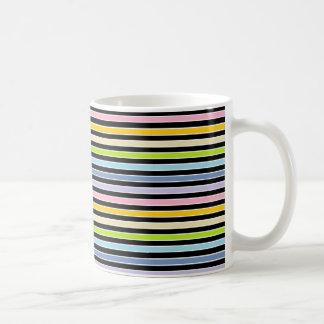 Pastellregenbogen, Schwarzweiss-Streifen Kaffeetasse