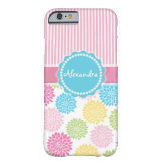 Pastellrosa, Blau, gelber Dahlie-Blumenname Barely There iPhone 6 Hülle