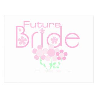 Pastellrosa-Blumen-Zukunft-Braut Postkarte