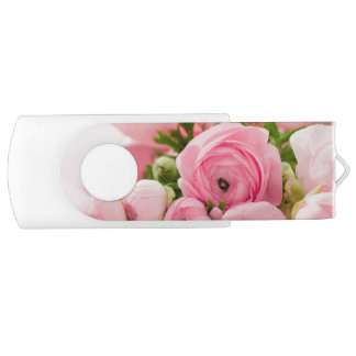 Pastellrosa-Blumenstrauß des Blumen-Bibel-Verses USB Stick