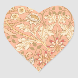 Pastellrosa-dekorative Blumen Herz-Aufkleber