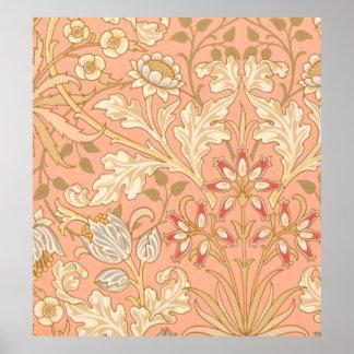 Pastellrosa-dekorative Blumen Poster