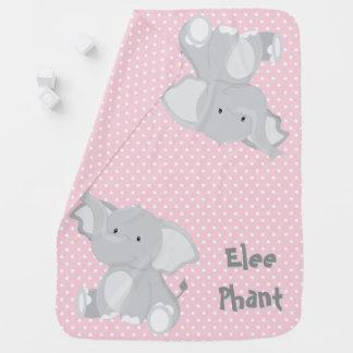 Pastellrosa-e-weiß Tupfen•Baby-Elefant•Gewohnheit Baby-Decke